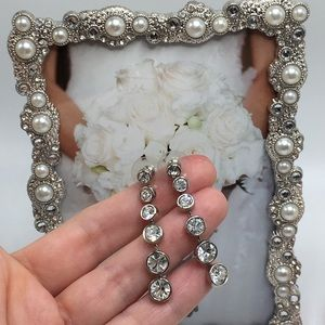 Silver bezel drop earrings crystal rhinestones
